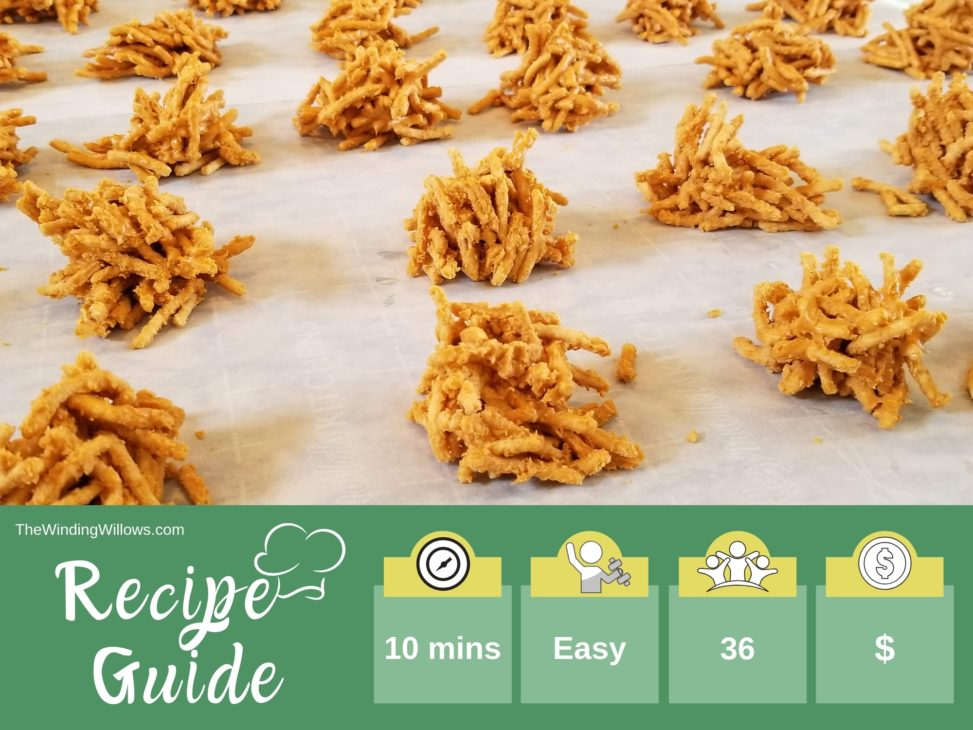Easy 2 ingredient no-bake butterscotch haystacks. The perfect autumn treat that even the kids can help make. Stepmom | Fall cookies | Holiday Cookies #thewindingwillows